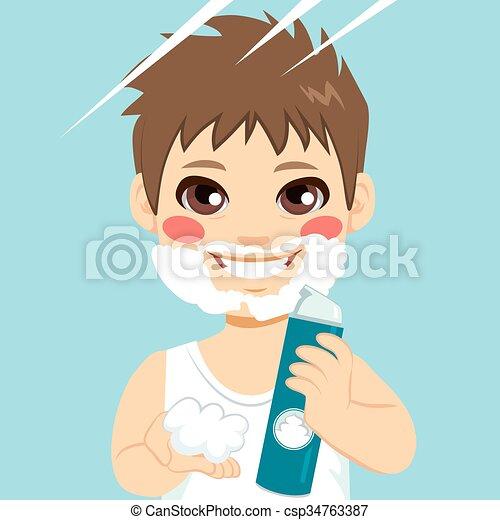 Niño pequeño afeitando barba de crema - csp34763387