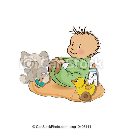 El niño pequeño juega con sus juguetes. - csp10408111