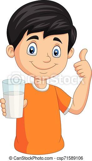 Niño de dibujos animados con un vaso de leche dando vueltas - csp71589106