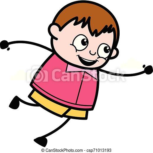 Pose de salto: dibujo animado adolescente ilustración vectorial del gordo - csp71013193