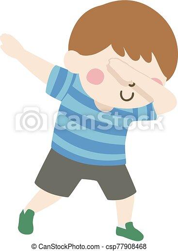 niño, postura, niño, ilustración, hacha - csp77908468