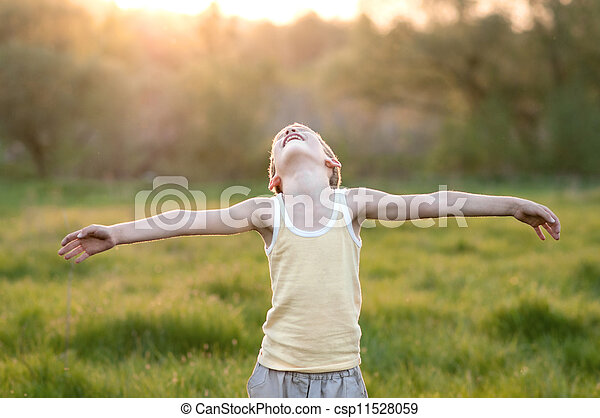 El chico está en una pradera - csp11528059
