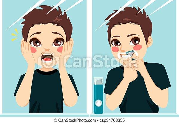 El adolescente primero en afeitarse - csp34763355