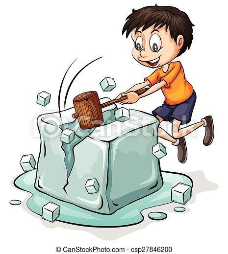 Chico rompiendo el cubo de hielo - csp27846200