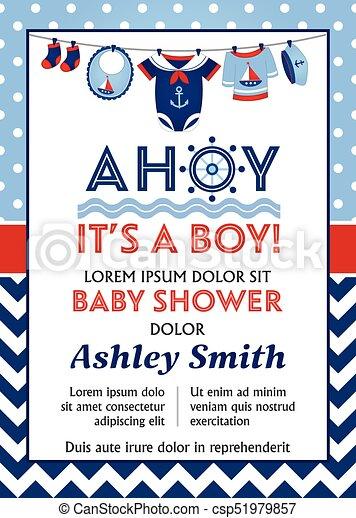Niño, shower., vector, plantilla, bebé, tarjeta. Bebé, niño, fondo ...