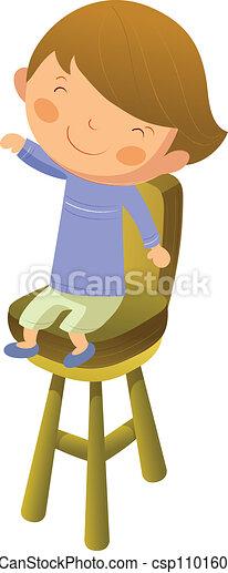 Grficos vectoriales de nio silla sentado  Boy se sentar