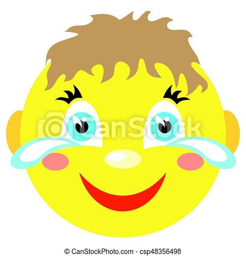 El niño sonriente ríe y llora. - csp48356498