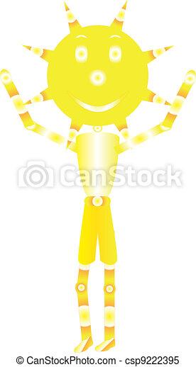 Clip art vectorial de nio sol  amarillo y blanco sol sonriente