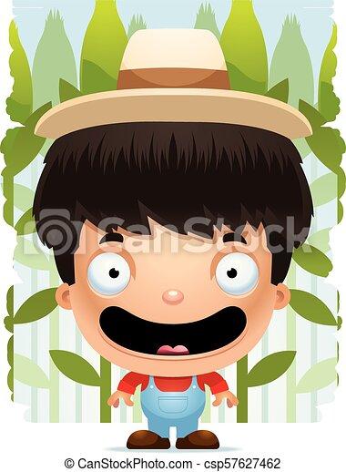 Un granjero de dibujos animados sonriendo - csp57627462