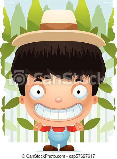 Un granjero de dibujos animados sonriendo - csp57627617