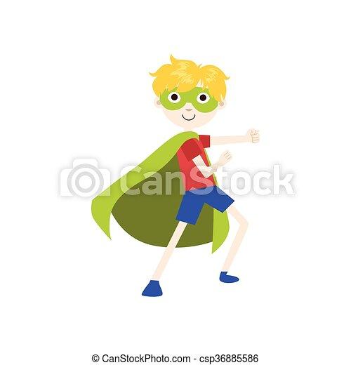 Chico disfrazado de superhéroe con capa verde - csp36885586