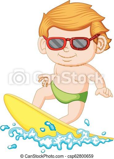 Un joven aprendiendo surf - csp62800659