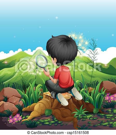 Un niño sobre un muñón con una lupa - csp15161508