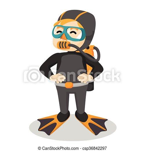 Chico usando traje de buceo - csp36842297
