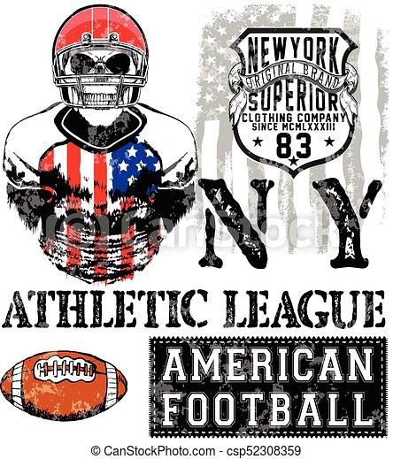 Fútbol americano. Impresa de vector de vegetación para ropa deportiva de chico en aduanas - csp52308359