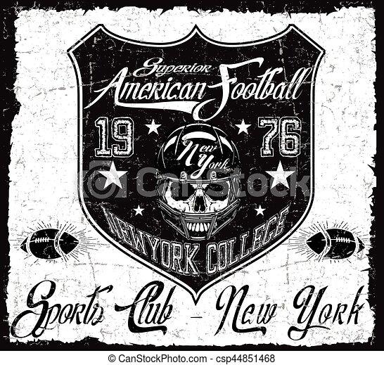 Impresiones americanas de vector de fútbol antiguo para ropa deportiva masculina en la aduana - csp44851468