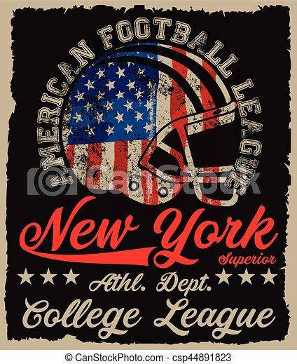 Impresiones americanas de vector de fútbol antiguo para ropa deportiva masculina en la aduana - csp44891823