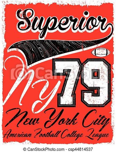Impresiones americanas de vector de fútbol antiguo para ropa deportiva masculina en la aduana - csp44814537