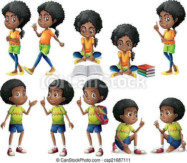 Niños afroamericanos - csp21687111