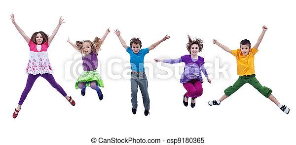 niños, -, aislado, saltando alto, feliz - csp9180365