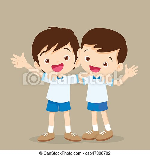 Niños Dos Ilustración Niños Vector Amigos Sonreír Feliz Mejor