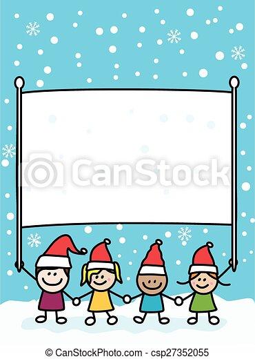 La pancarta de los niños de Navidad - csp27352055