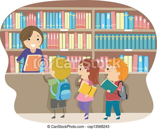 Niños en una biblioteca - csp13568243
