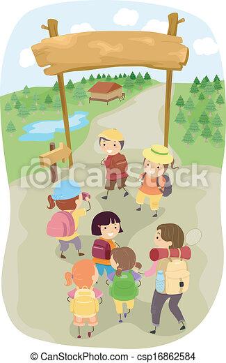 Acampando niños - csp16862584