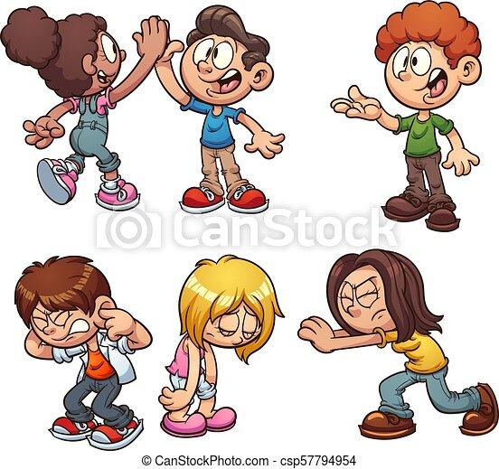 Acciones de niños de dibujos animados - csp57794954