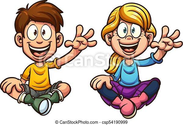 Niños sentados - csp54190999