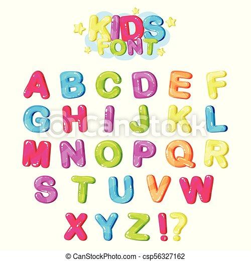 Niños Font, letras brillantes multicolores del alfabeto inglés y símbolos de puntuación vector de la ilustración - csp56327162