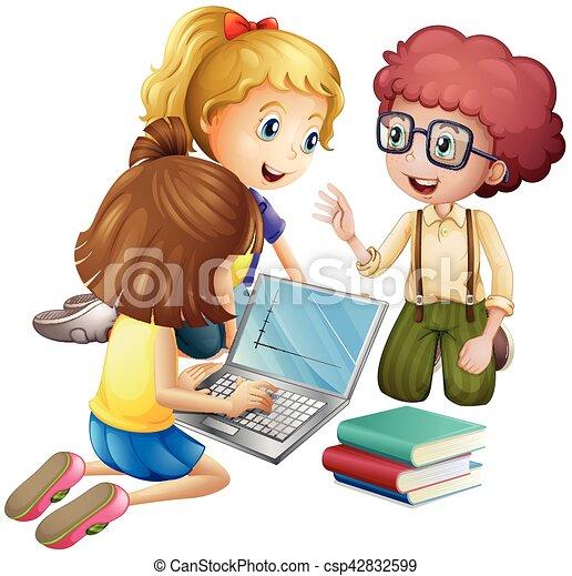 Tres niños trabajando en la computadora. Tres niños trabajando en ...