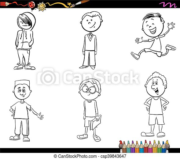 Niños, conjunto, libro colorear, niño. Escuela, colorido, conjunto ...