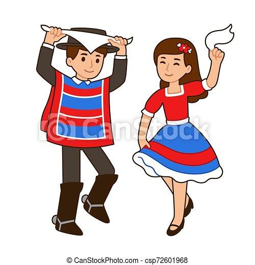 Niños de dibujos animados bailando. Lindos niños de dibujos animados  bailando cueca, baile tradicional en chile. chico y