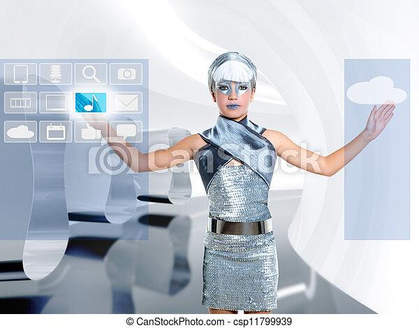 Niña futurista con un dedo de plata icloud icono - csp11799939