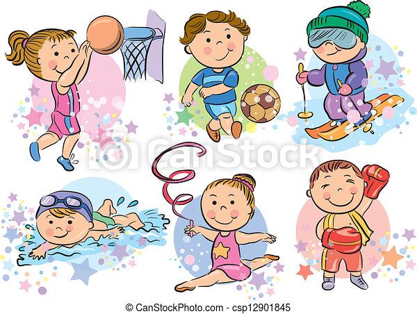 Niños deportivos. Eps10, contiene, deportes, objects., transparente ...