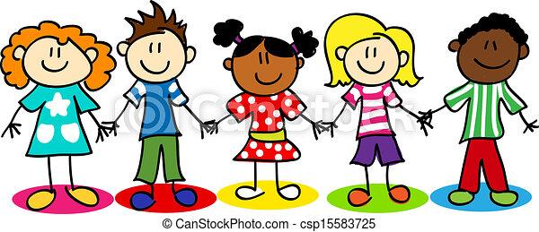 Los chicos de la diversidad étnica. Divertidos dibujos animados, niños y niñas, diversidad étnica.