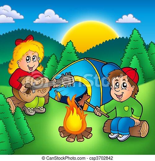 Niños, dos, campamento. Niños, illustration., color que ...