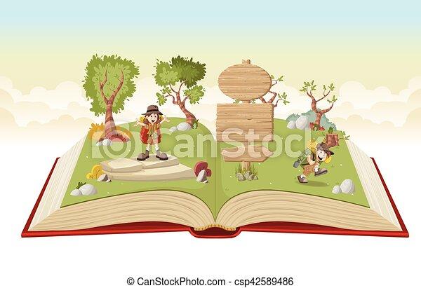 Libro abierto con chicos de dibujos animados en traje de explorador - csp42589486