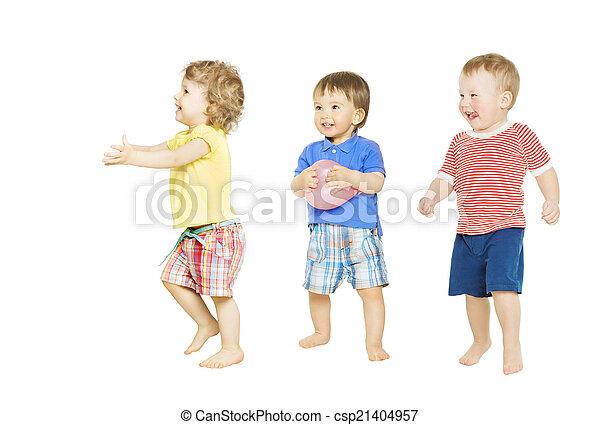 niños, grupo, aislado, niños, pequeño, toys., bebé, blanco, juego - csp21404957