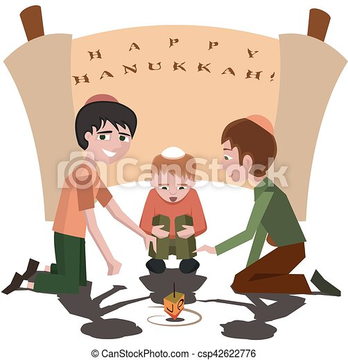 Niños judíos con camiseta giratoria, feliz Hanukkah - csp42622776