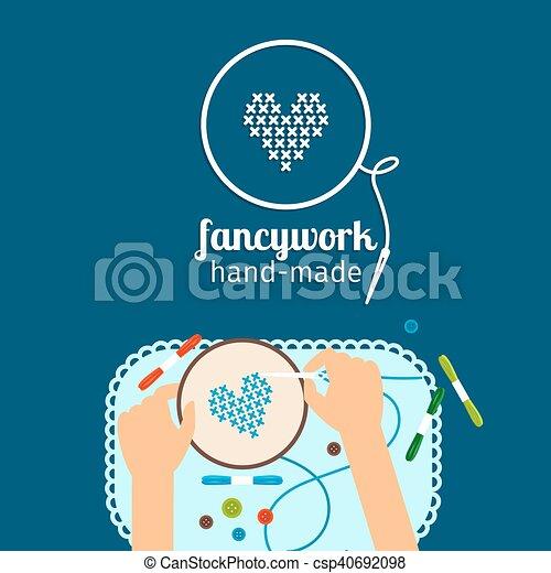 Niños ilustrados a mano. Trabajo elegante - csp40692098