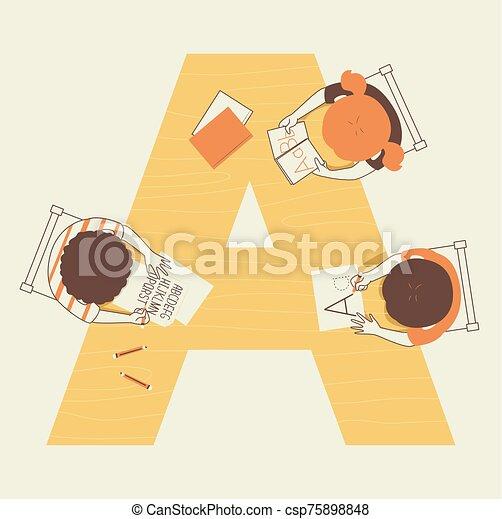 niños, ilustración, alfabeto, escuela - csp75898848