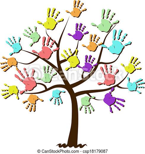Las huellas de las manos de los niños están unidas en el árbol - csp18179087