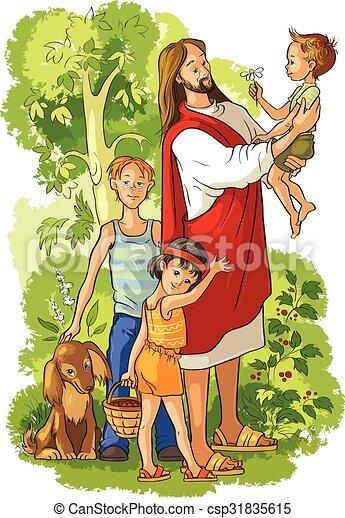 Dibujo Jesus Con Ninos