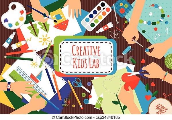 Laboratorio de niños creativos - csp34348185