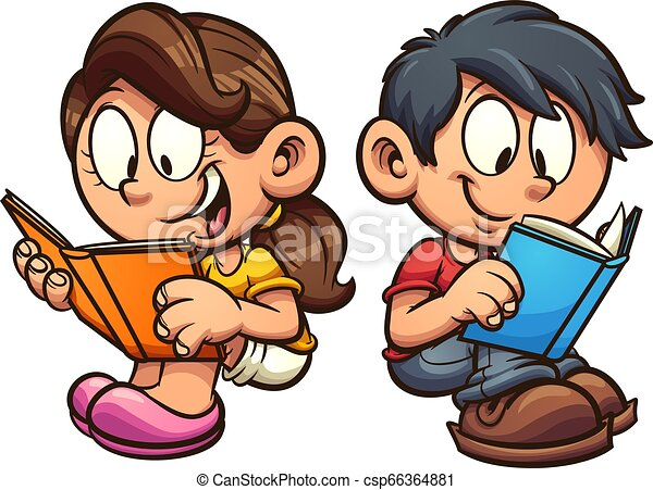 Niños leyendo libros - csp66364881