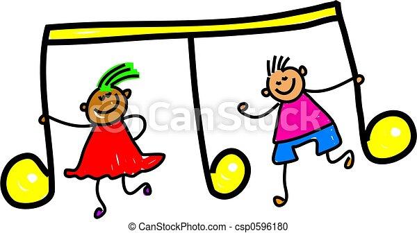 niños, música - csp0596180