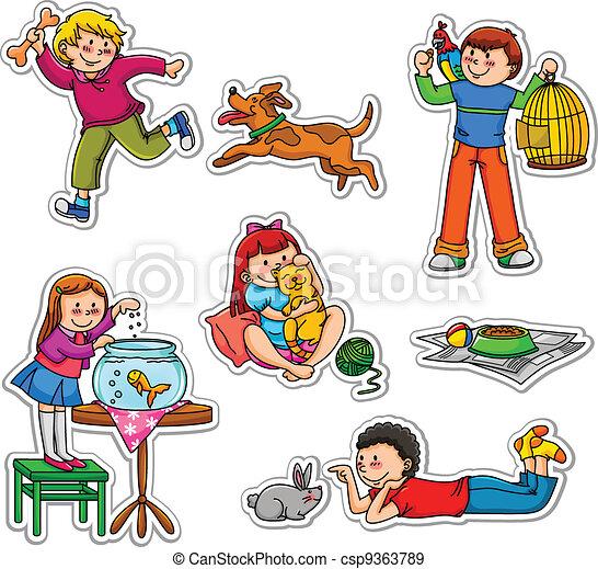 Niños y mascotas - csp9363789
