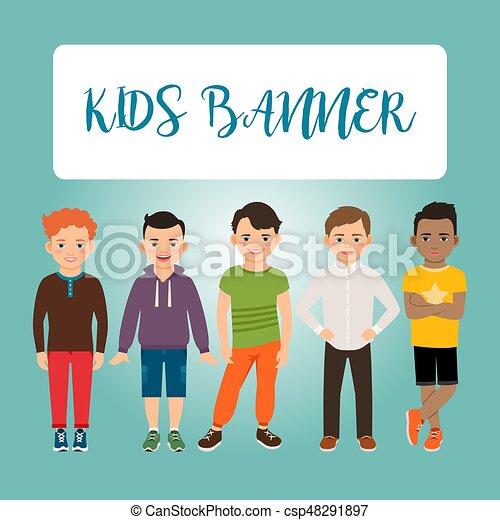 Niños pancartas con chicos - csp48291897